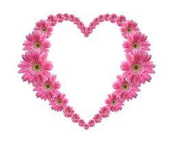 Heart Frame from pink flower isolated on white background