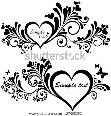 Heart frame with butterfly. Collection of design elements vintage set isolated on White background.  illustration