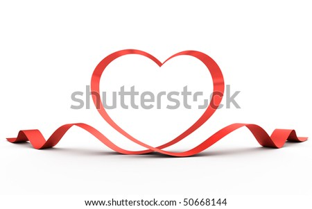 Heart from a red ribbon. 3d illustration. - stock photo