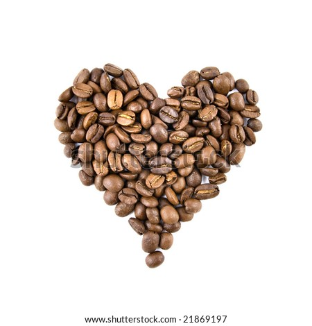 heart from coffee beans isolated on white - stock photo