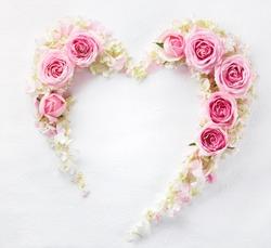 Heart from fresh rose petal