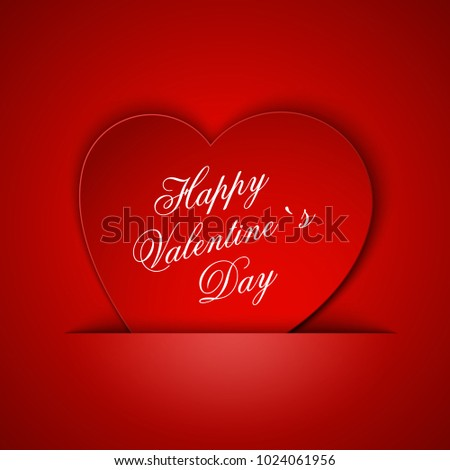 Heart from paper Valentines day card background illustration #1024061956