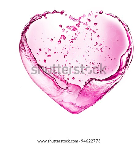 Heart from wine splash with bubbles isolated on white