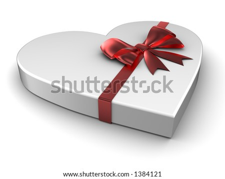 Heart gift with satin bow
