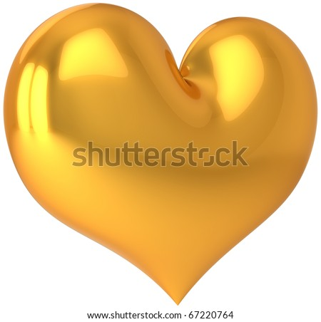 Heart gold golden shape luxury decoration saint valentines 14 february day love symbol icon concept blank. 3d render isolated on white background