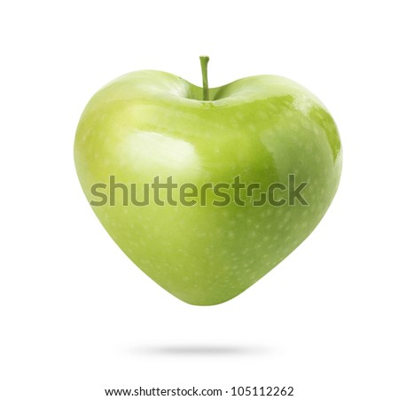 heart  green apple isolated on white background