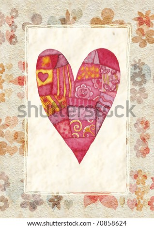 Heart, greeting card for Valentine's Day