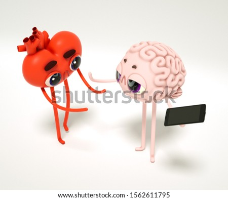 Heart-guy and Brain-guy need didgital detox , 3d render