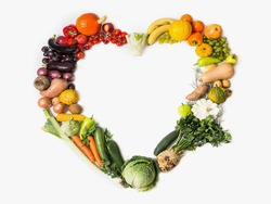 Heart, healty. Fruits and vegetables are heart healthy. Heart of vegetables and fruits. The concept of healthy, fresh food. Healthy food background