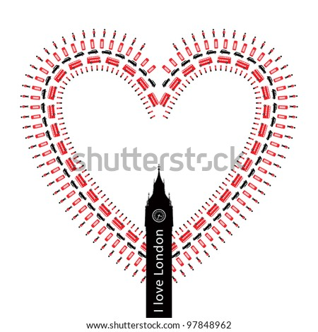 Heart -?? I love  London - symbols  -  icons - conceptual isolated illustration