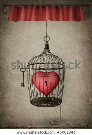 Heart in a Cage - stock photo