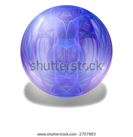 Heart in a glass globe or marble abstract - stock photo