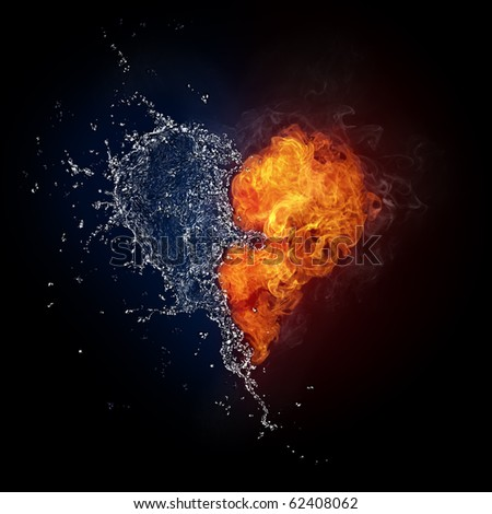 Heart in Fire and Water Isolated on Black Background. Computer Graphics.