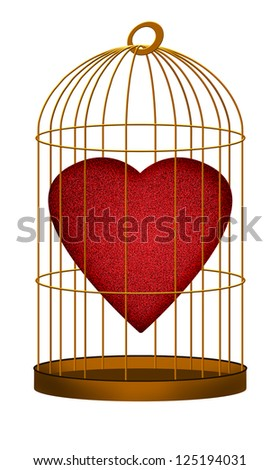 Heart in gilded, golden cage over white