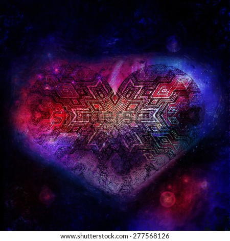 heart in space, comsic heart, love universe, galaxy heart, valentines day, love in the space, abstract heart, abstract illustration of heart, cosmic drawing, stars heart, futuristic idea