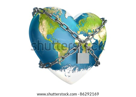 heart in the form of planet earth is closed to lock