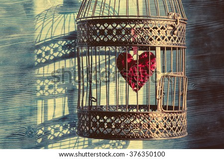 Heart inside the bird cage. Vintage background. Love/romance concept.