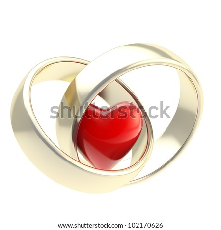 Heart inside two golden wedding rings isolated on white