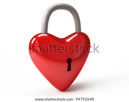 Heart is closed to lock isolated on white background High resolution. 3D image Secret love