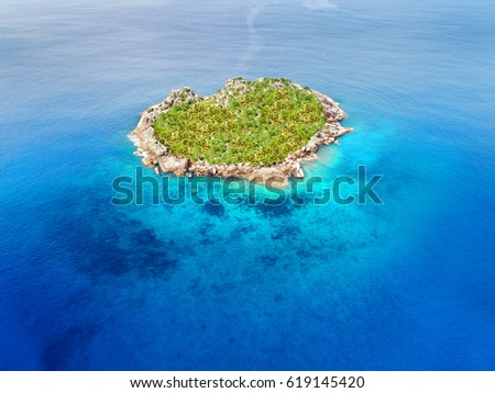 heart island and beach paradise on the sea for summer Holidays, aerial drone photo
