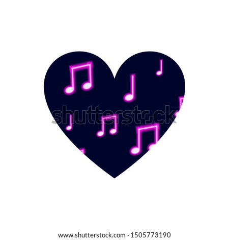 Heart Isolated on White Background, Neon Musical Notes Pattern, Music Icon Template, Clip Art.