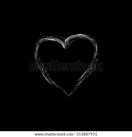 Heart isolated. White sign on black background. Romantic silhouette symbol linked, join, love, passion and wedding. Monochrome mark of valentine day. Design element. illustration #553887931