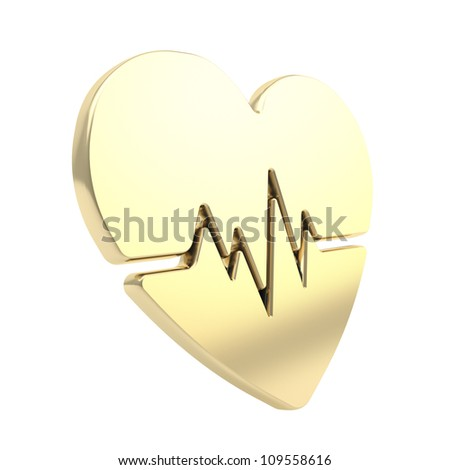 Heart issues and health care glossy golden emblem icon with the pulse beat path isolated on white