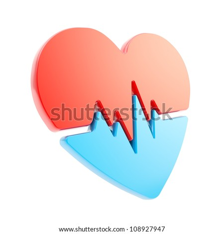 Heart issues and health care glossy red and blue emblem icon with the pulse beat path isolated on white