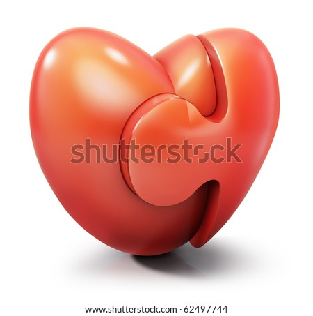 stock photo : Heart jigsaw puzzle, 3d love symbol