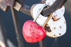 Heart lock on the bridge. Valentine's day