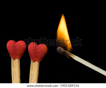 heart love matches just be burn by amor fire eros igniting  cupid 14 february background  Foto d'archivio ©