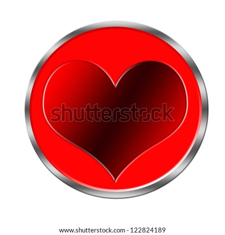 Heart Love red glossy symbol. Beautiful glossy Valentines Day