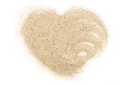 Heart made by sand on a white background