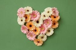 Heart made from fresh gerbera flowers