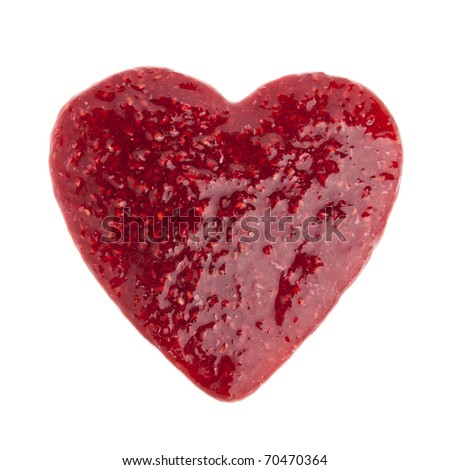 Heart made from raspberry jam