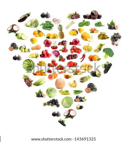 Heart made from various fruits and vegetables isolated on white #143691325