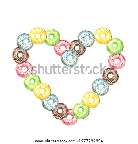 Heart made of donut s poured with pink, blue, green, chocolate and yellow icing and sprinkled with multi-colored sprinkles on a white background