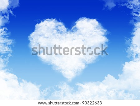 heart made of fluffy clouds