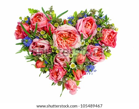 heart made of fresh flowers