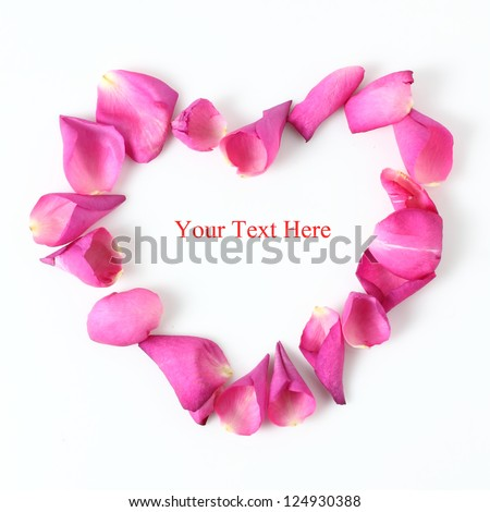 Heart Made Of Pink Rose Petals With Copy Space