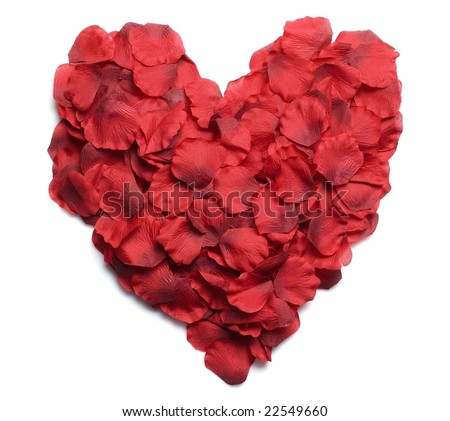Heart made of rose petal - stock photo