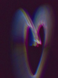 Heart made out of glowsticks