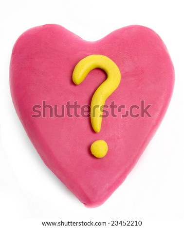 heart made with plasticine with question mark isolated on white