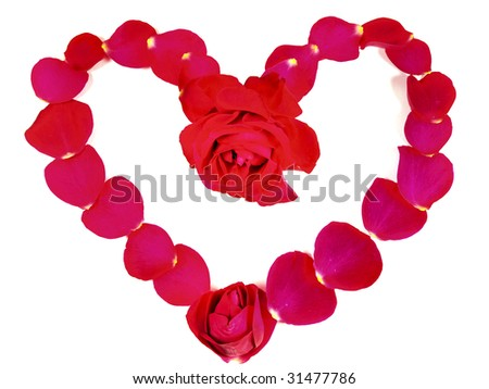 heart made with red rose petals