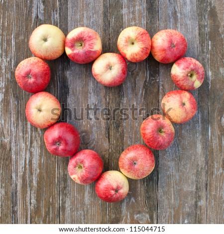 heart of apples/apples/heart - stock photo