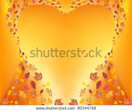 heart of fall leafs on yellow background