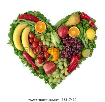 Heart of fruits and vegetables - stock photo