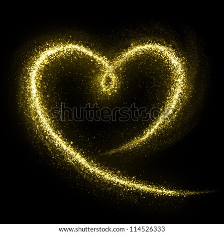Heart of gold glittering star dust. Love concept.