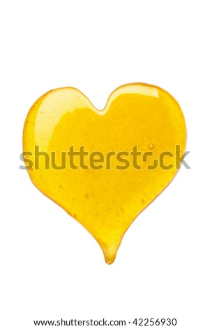 Heart of honey isolated on white