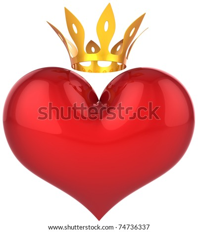 Heart of king abstract. Lucky lover concept. Big red shiny heart shape with a golden crown. This is a detailed 3D rendering (Hi-Res). Isolated on white. Love will save the world!